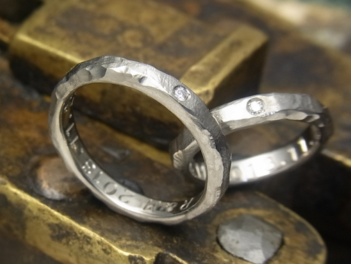 Diamond titanium wedding ring