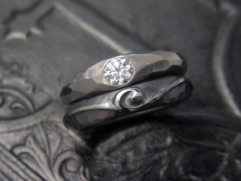 Diamond titanium engagement ring