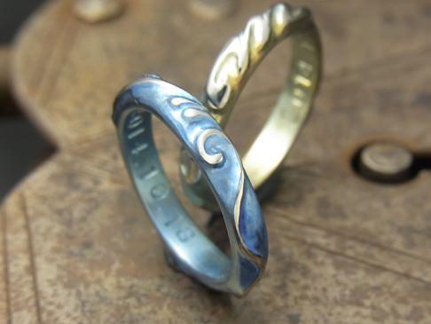 レリーフ彫りチタン結婚指輪